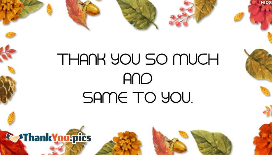 Thank You and Same To You