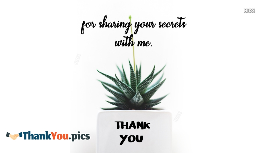 Thank You For Your Sharing Your Secrets With Me